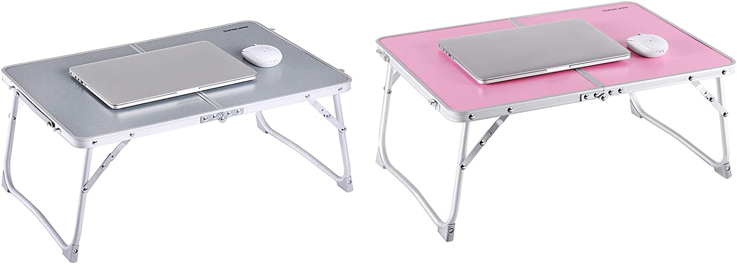 Foldable Laptop Table, Superjare Bed Desk, Breakfast Serving Bed Tray, Portable Mini Picnic Table & Ultra Lightweight, Folds in Half with Inner Storage Space