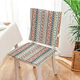 Mikihome 2 Piece Set Chair seat Pads Tribal Mexican Style AztecStyle Cream Blue and Scarlet Dining Garden Patio Mat:W17 x H17/Backrest:W17 x H36