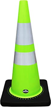 Set of 8 28 RK Pink Safety Traffic PVC Cones Black Base with One Reflective Collar