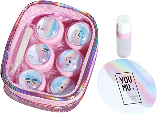 Nikgic Caja de Lentes de Contacto Kit Encantador Espejo Incorporado Estuche para Gafas y Lentillas Funda Gafas: Amazon.es: Hogar