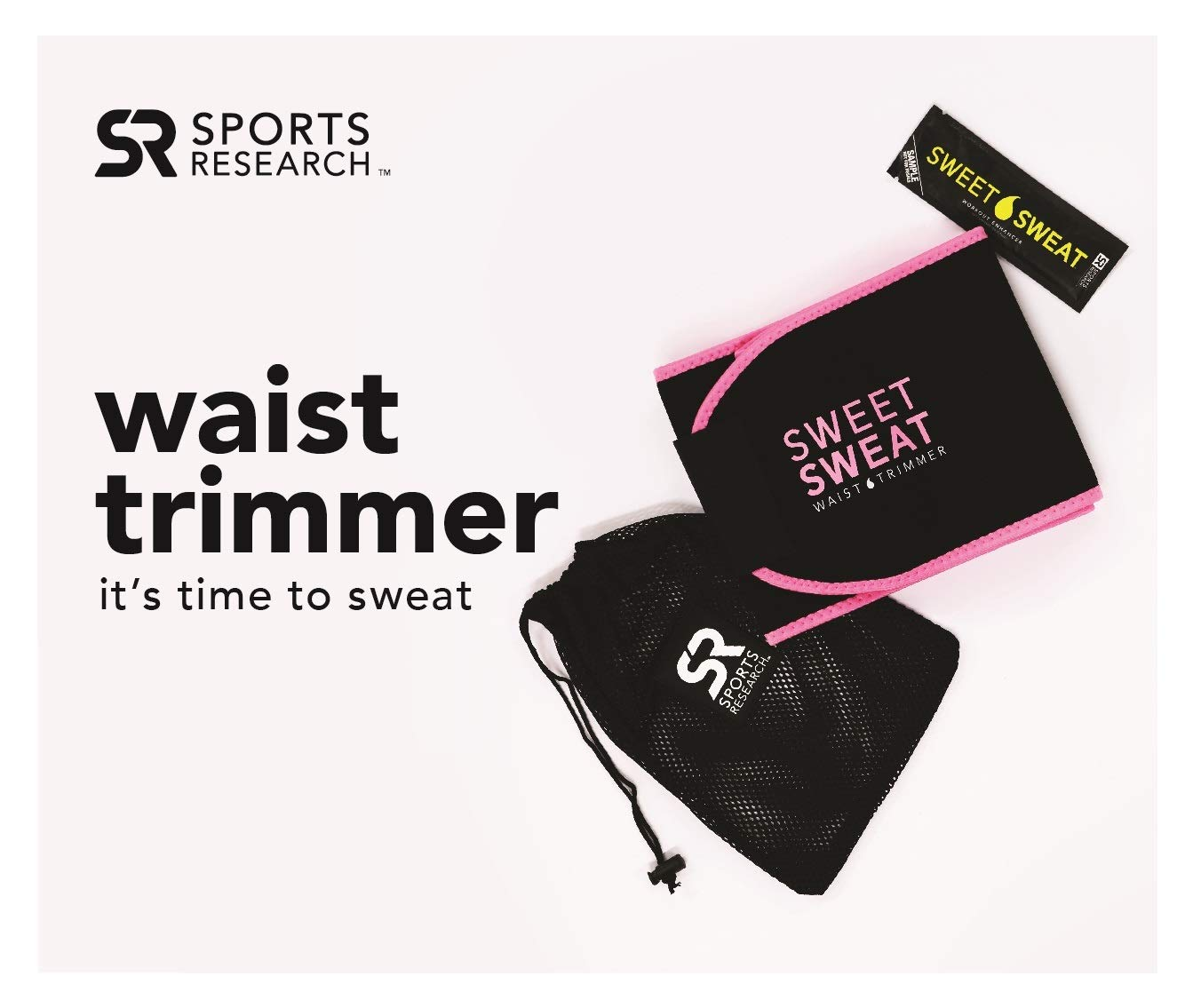 c4cb56638f2 Amazon.com  Sports Research Sweet Sweat Premium Waist Trimmer (Pink Logo)  for Men   Women ~ Includes Free Sample of Sweet Sweat Gel!  Sports    Outdoors