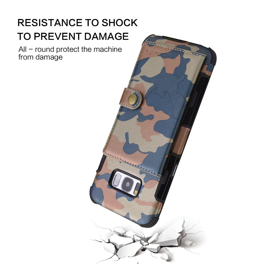 Galaxy S8 Plus Case,DAMONDY Luxury Camo Wallet Purse Card Holders Design Cover Soft Shockproof Bumper Flip Leather Kickstand Magnetic Closure Camouflage Case for Samsung Galaxy S8 Plus-Rose Red