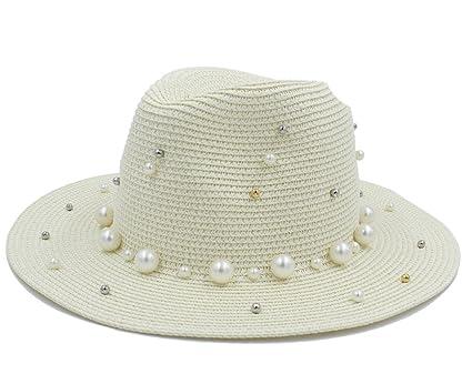 Tiene Chapeau Mujeres Hombres Verano Toquilla Paja con Perla Sombrero para  Dama Elegante Dama Ancha Homburg 1d50b3c5f78