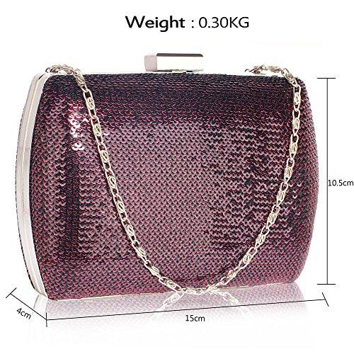 1 Clutch Bag Evening For With Chain Wedding Purple Designer Womens Handbag party Design New Sequin pBwCOxqB