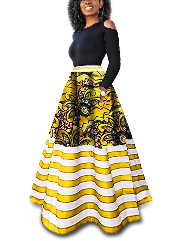 Sibylla Women's Casual African Printed Long Maxi Skirt Plus Size A Line Cocktail Skirt Ball Gown (XX-Large, Yellow+Stripe)