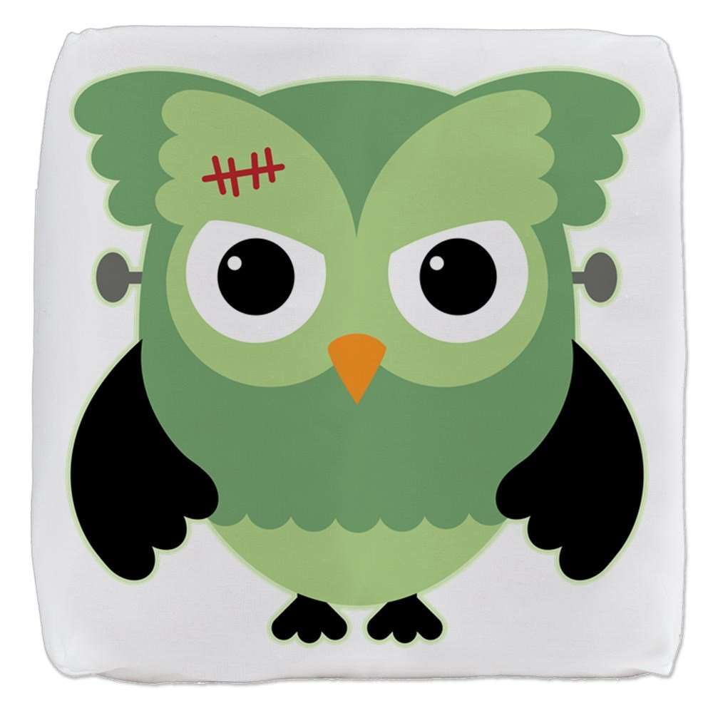 18 Inch 6-Sided Cube Ottoman Spooky Little Owl Frankenstein Monster