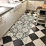 Kapaqua Rubber Backed 2'8″ x 10′ Floral Swirl Medallion Grey & Ivory Long Runner Non-Slip Rug – Rana Collection Kitchen Dining Living Hallway Bathroom Pet Entry Rugs RAN2033-310