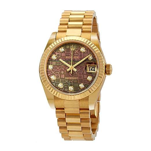 Rolex 178278BKMJDP - Reloj de pulsera para mujer con esfera de diamante de nácar 31 de color negro: Amazon.es: Relojes