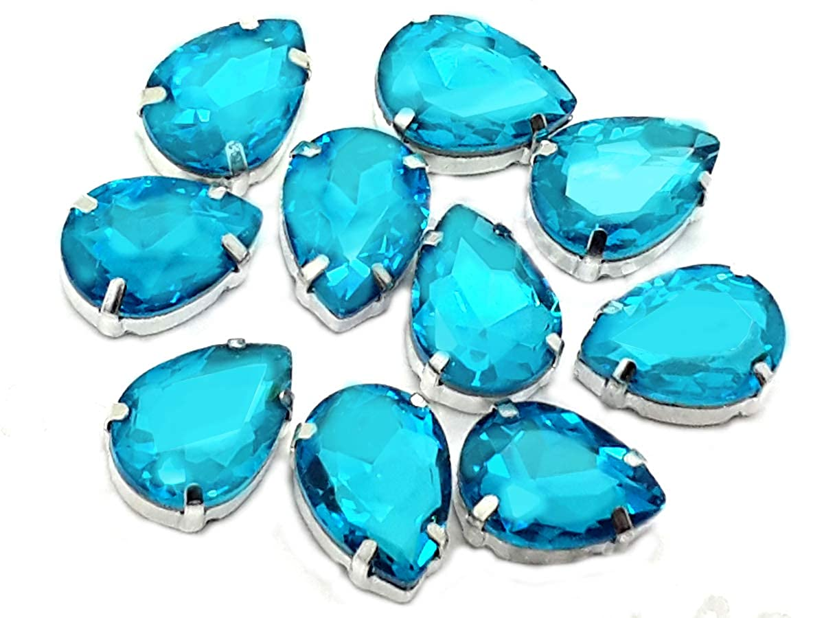 Pack of 10 (10mm x 14mm, Aquamarine Teardrop), Swarovski Alternative, EIMASS® Exquisite Multi Shape Sew on Glue on Point Back Glass Crystals in Silver Settings