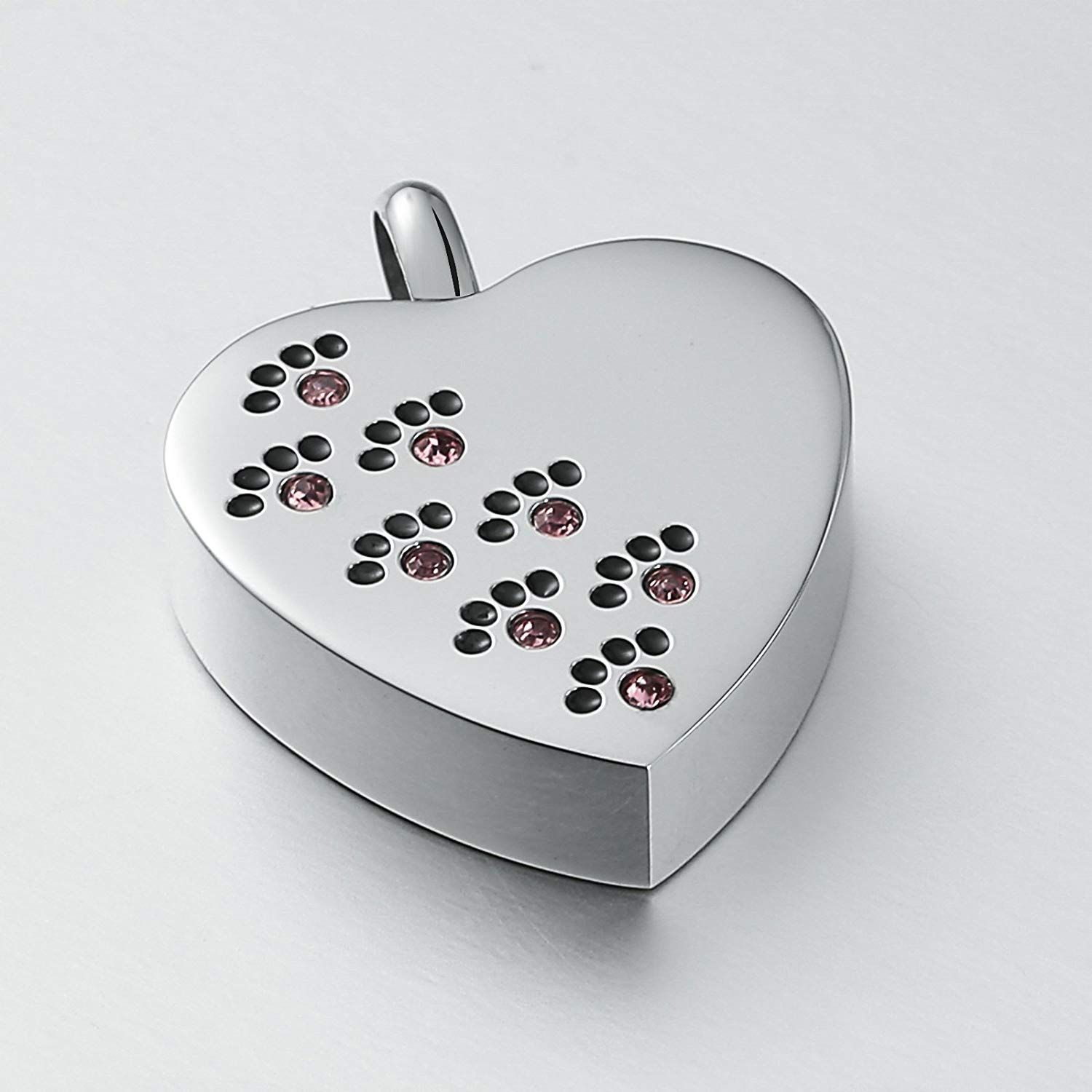 DVANIS Stainless Steel Pet Loss Memorial Urn Cremation Necklace for Ashes Keepsake Pendant Heart Crystal