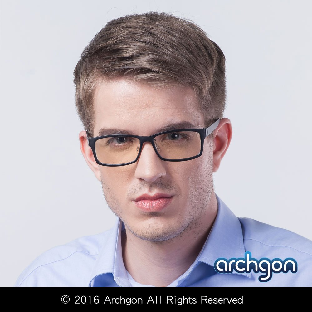 Archgon Fashion Computer Glasses Anti Blue Light UV Protection A+ Crystal Tempered Lens Model Rio Samba GL-B107-GR by Archgon