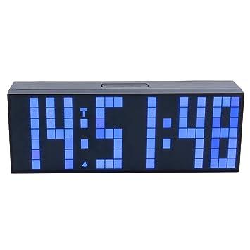 ZJchao LED reloj Digital de pared y mesa, despertador, electrónicos Matin Silencioso, funciona