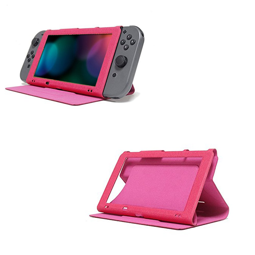 Leather Case for Nintendo Switch, MIFAVOR Slim PU Protective Cover Case with Stand for Nintendo Switch 2017 (Hot Pink)