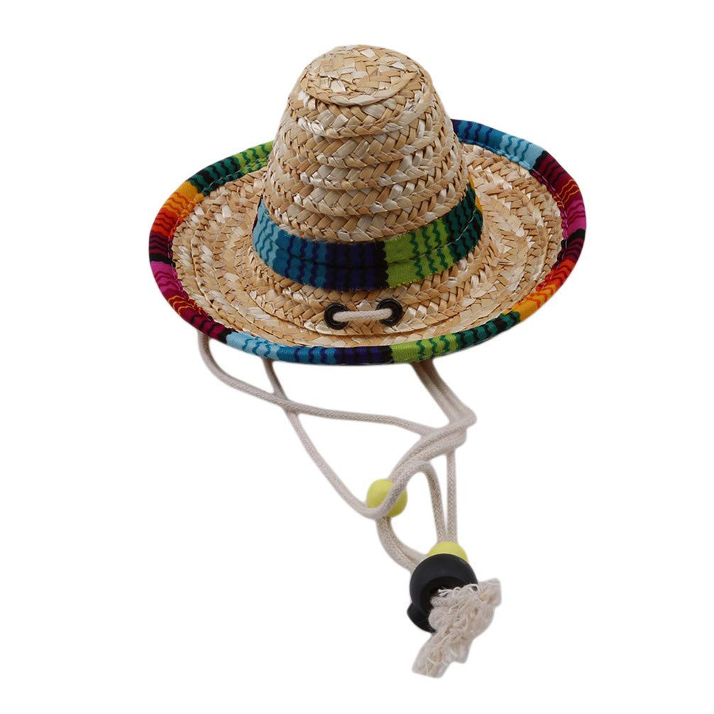 Mini Mexican Straw Hat Pet Cap Cute Multicolor Pet Hat Pet Decorating Tools High Quality by Yevison