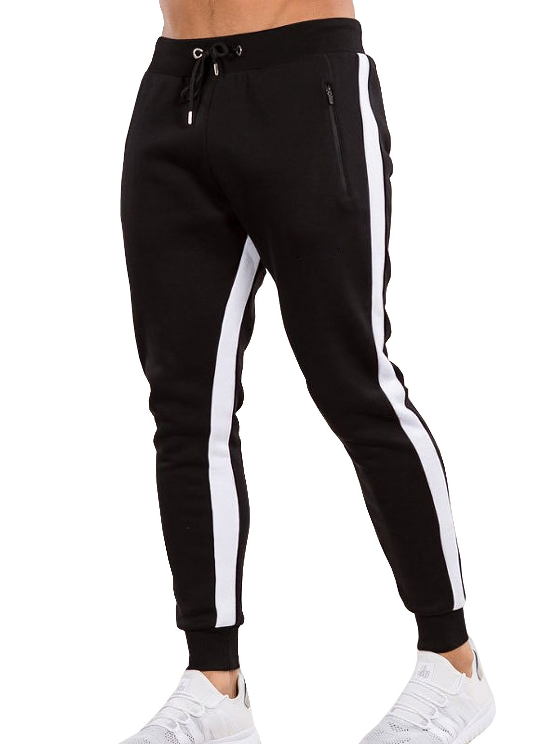 Ouber Men's Gym Jogger Pants Slim Fit Workout Running Sweatpants with Zipper Pockets (L,Black)