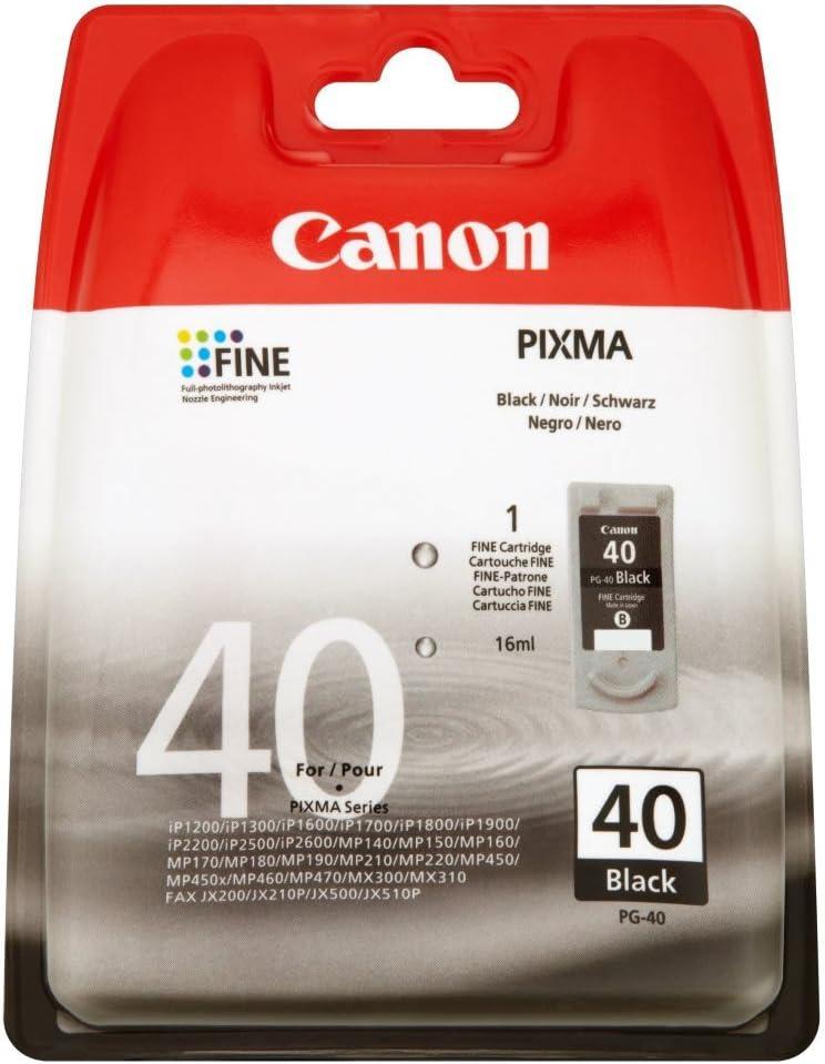 Canon PG-40 - Cartucho de Tinta para impresoras (Negro, Estándar, 16 ml): Amazon.es: Oficina y papelería
