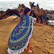 Handicrunch Christmas Decoration Roundie Round Beach Throw Mandala Tapestry,Christmas Gift Hippy Boho Gypsy Cotton Table Cloth Beach Throw, Round Yoga Towel Mat, 70 Inch.