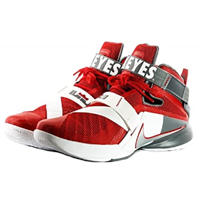 the latest be784 d613f Amazon.com   Nike Lebron Zoom Soldier IX 9 Premium Ohio State Basketball  Shoes (9.5) Red White Grey   Basketball