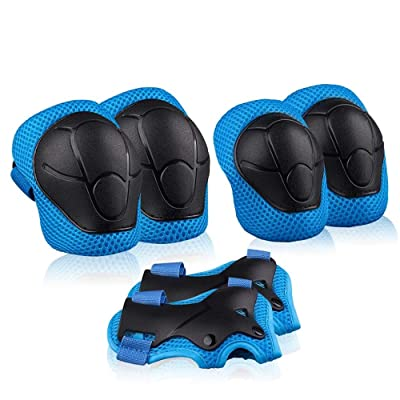 Xiaoai Kids Knee Pads Elbow Pads Wrist Guards Children Protective Gear Set for Roller Skates Cycling Bike Skateboard Riding Sports (Blue) : Sports & Outdoors
