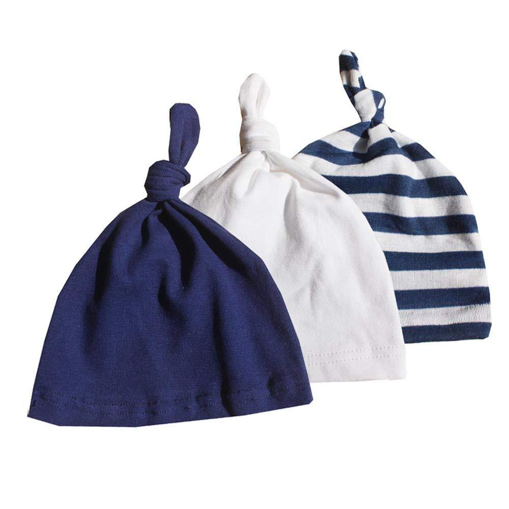 Gyratedream Bonnet Bebe Naissance 3 Pack Nouveau-né Beanie Chapeau Réglable Coton Casquettes pour 0-24 Mois