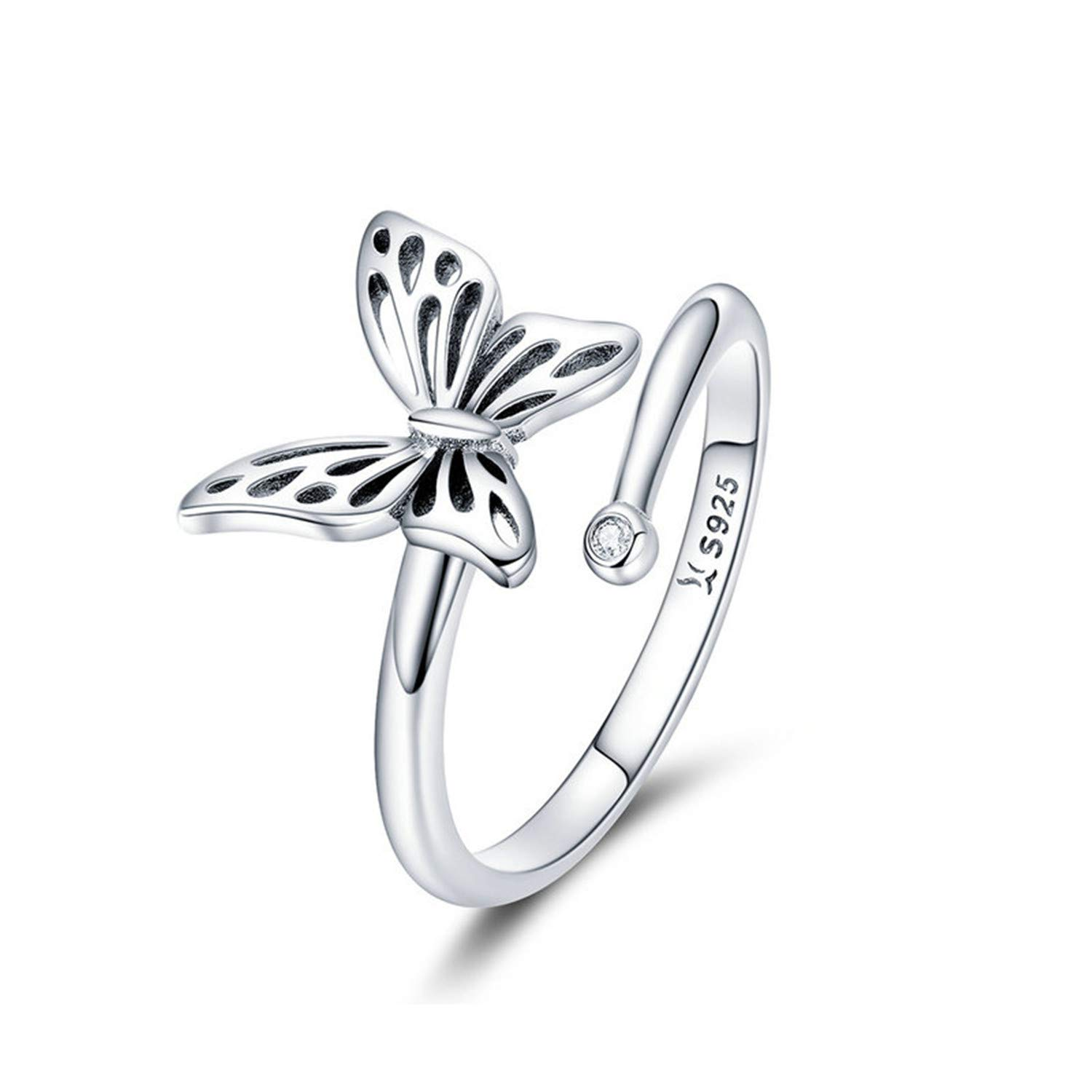 JITALFASH Finger Ring Sterling Silver Vintage Style Leaves Clear CZ Adjustable Rings Women S Jewelry Gift