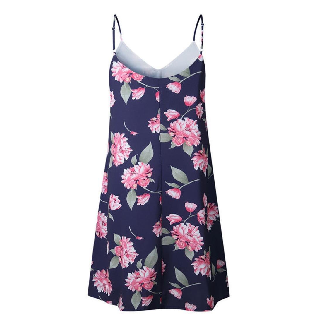 Women's Summer Dress Sleeveless Beach V-Neck Print Spaghetti Strap Short Mini Dress