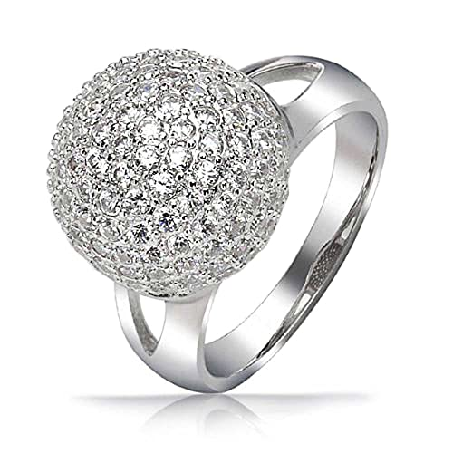 Trendy Fashion Cubic Zirconia Pave CZ Disco Ball Statement Ring For Women Double Split Shank 925 Sterling Silver
