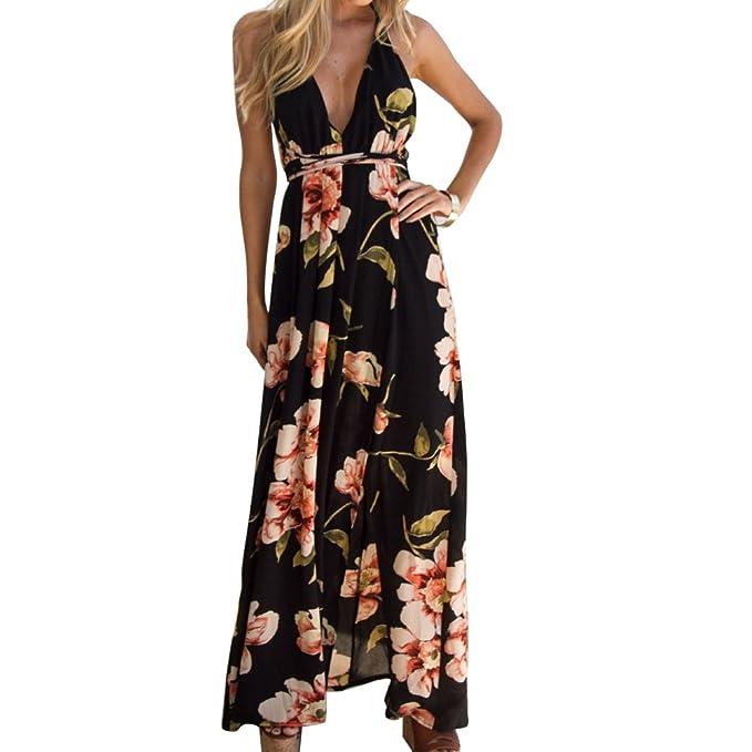 Vestido Largo Mujer Estampado de Flores Maxi Boho Verano con Cuello en V Casual para Fiesta