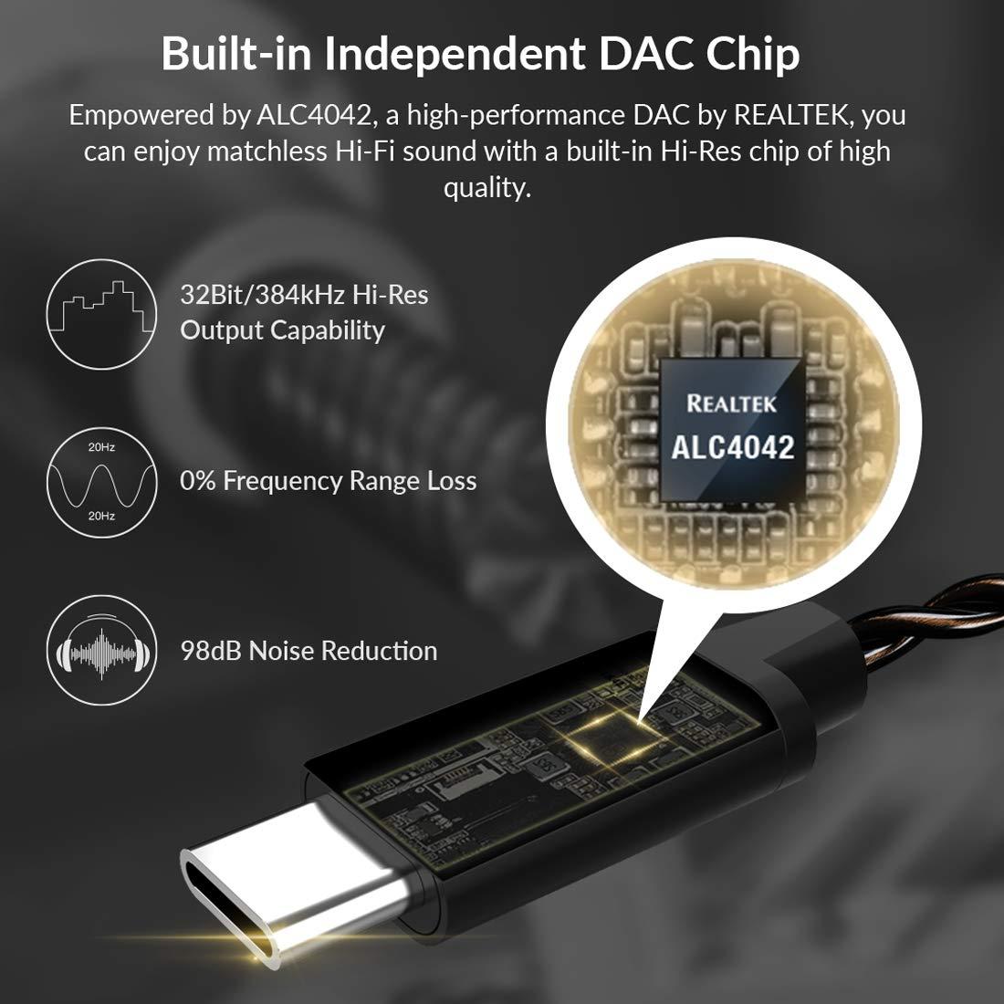 HIDIZS S1 tragbarer Kopfh/örer-Verst/ärker USB Typ C auf 3,5 mm DAC-Kabelkonverter f/ür MacOSX//Android//Windows10
