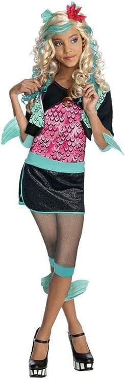 Monster High Lagoona Blue Kostuem.Amazon Com Big Girls Lagoona Blue Monster High Costume And Blue Wig Set Clothing