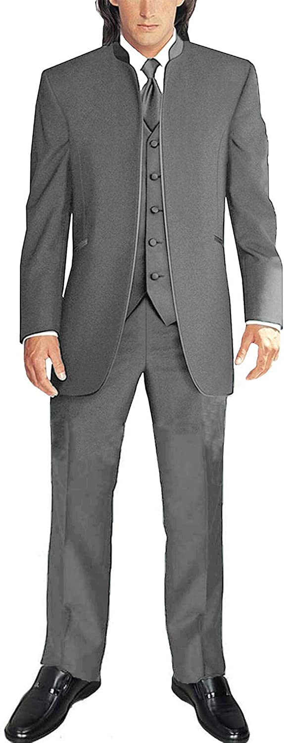 Frank Mens Suit Chinese Style Stand Collar 3 Pieces Wedding Suit