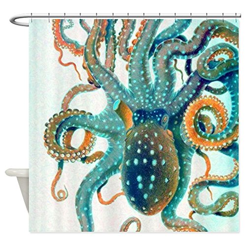 CafePress - Colorful Teal Orange Octopus - Decorative Fabric Shower Curtain (69