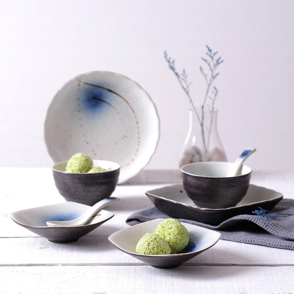 ヴィンテージクリエイティブな手塗りのボウルセット8点、陶器の釉薬色の日本食刃物2点セット   B07BKY2TN6
