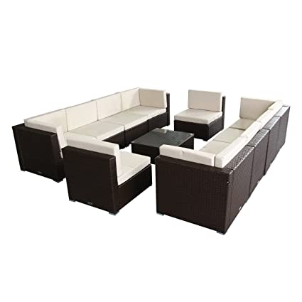 U-MAX 7 Piece 7-14 Pieces Patio PE Rattan Wicker Sofa Sectional Furniture Set Brown (11 Pieces)