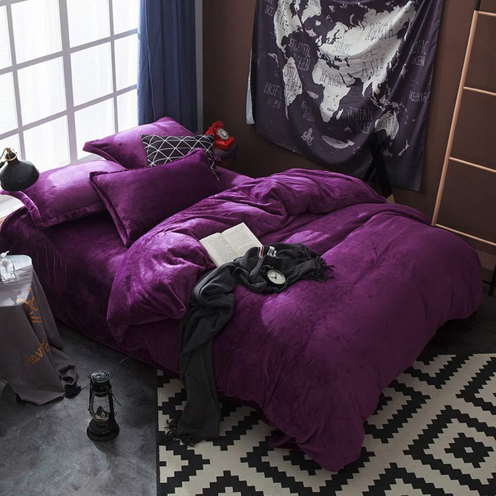 Bettbezug Kopfkissenbezug Herbst und Winter warm vierteilig doppelseitig zweifarbig superweich vierteilig Flanellstoff vierteilig Mode einfarbig Steppdeckenbezug (Farbe   F, Größe   180cm200cm)