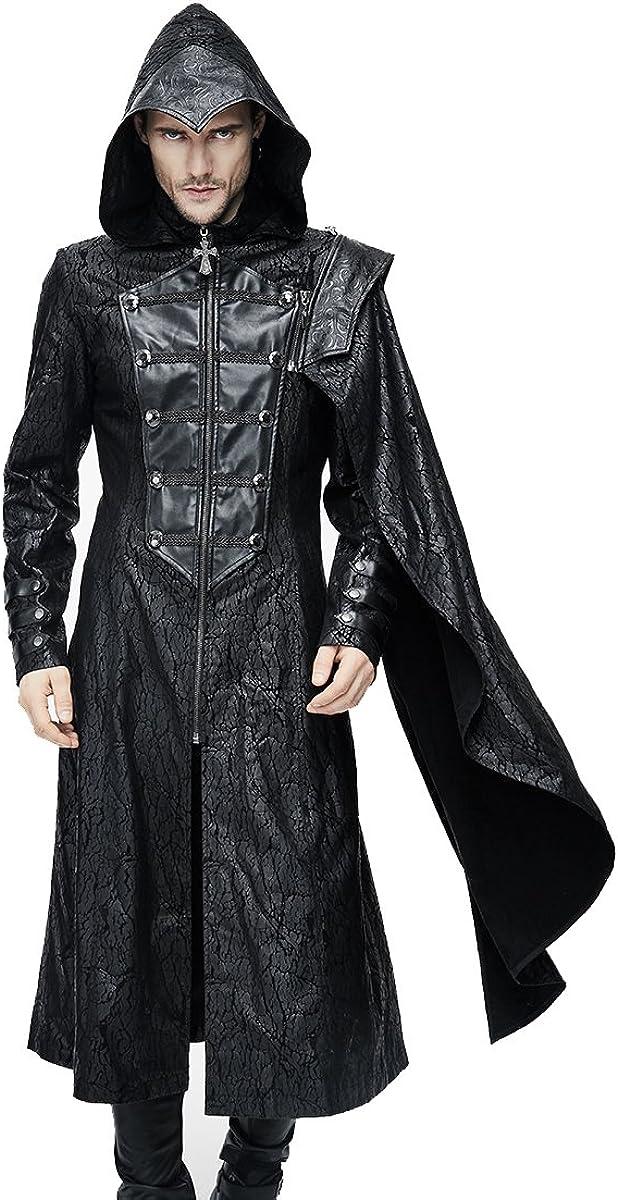 Gótico Hombres Moda Punk PU Cuero Negro Largo Casual Chaquetas con capucha Steampunk Hombres desmontables bufandas Knight Style Coats