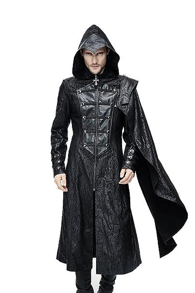 Gótico Hombres Moda Punk PU Cuero Negro Largo Casual Chaquetas con capucha Steampunk Hombres desmontables bufandas