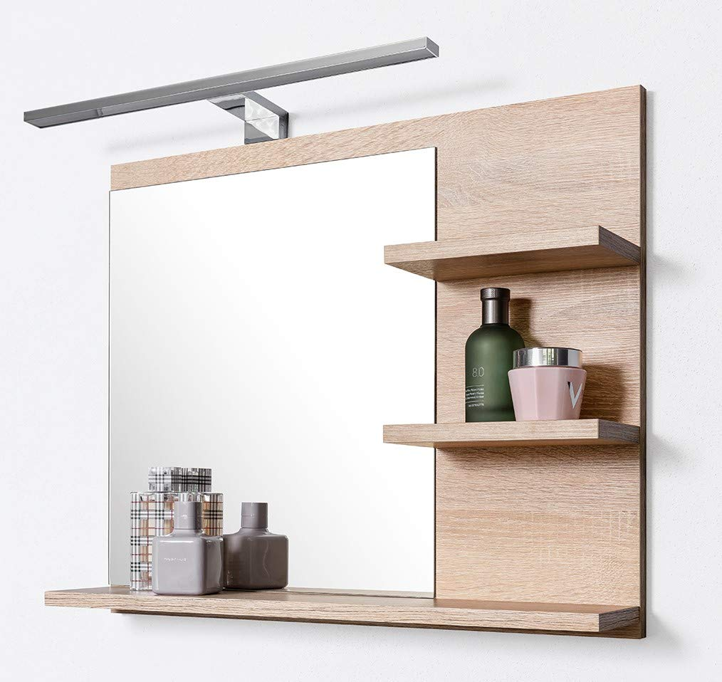 DOMTECH Badspiegel mit Ablagen und LED Beleuchtung Eiche Badezimmer Spiegel Wandspiegel, LED Wandlampe