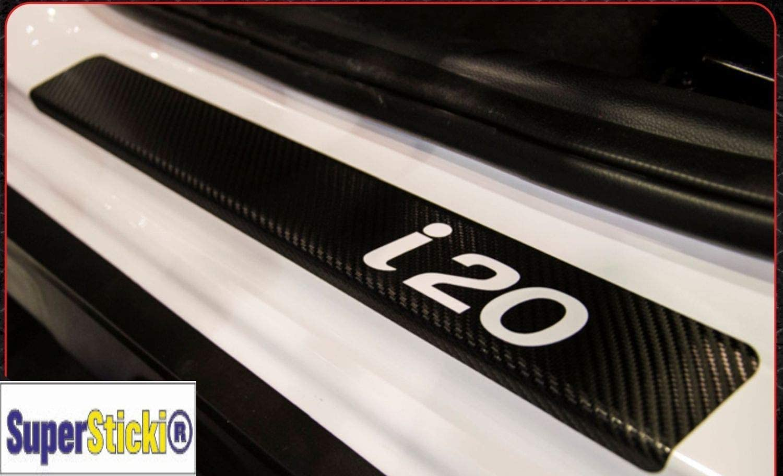 Supersticki Hyundai I20 Carbon Carbonfolie Carbon Aufkleber Folie Optic Einstiegsleisten Set 1tür Logo Farbauswahl Rennsport Racing Tuning Auto