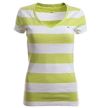 2254c205 Tommy Hilfiger Women V-Neck Wide Stripes (X-Small, Lime Green/White) at  Amazon Women's Clothing store:
