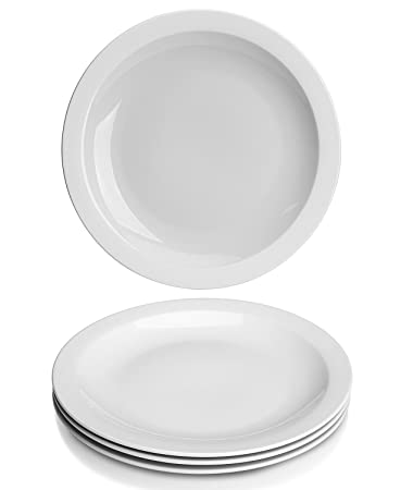 YHY 10.6 inch Porcelain Dinner Plates White Round Plate Set (4 Packs)  sc 1 st  Amazon.com & Amazon.com | YHY 10.6 inch Porcelain Dinner Plates White Round ...