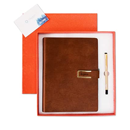 a579f127cfa A5 Leather Refillable Notebook Gift Set,SAYEEC Pen and Notebook Journal Set PU  Leather Loose
