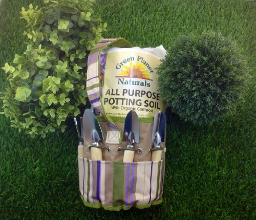 Colorful Garden Tote with Mini Tools PLUS 8 Qt Bag of All Purpose Potting Soil, Appliances for Home