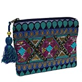 Lovestitch Beaded Flat Makeup Pouch Aztec Blue, Purple