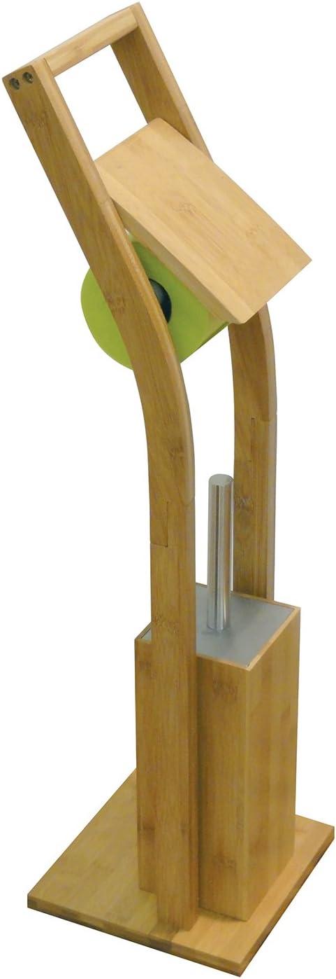 MSV PORTAROLLO Y ESCOBILLA DE Bano DE Bambu Beige 73x20x20 cm