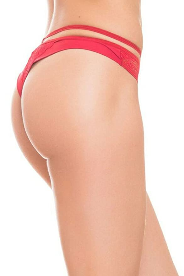 42d2829a24bd GB Intimates Red Brazilian Thong Underwear Women's Lace Panties Cheeky  Strappy Panty (Large) at Amazon Women's Clothing store: