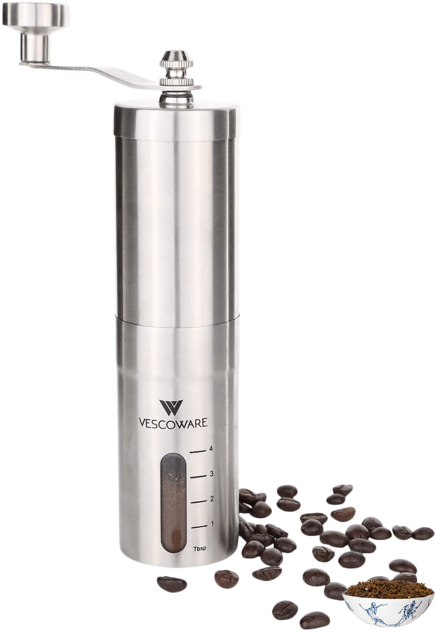 Manual Coffee Grinder with Conical Burr - Hand Bean Mill with Adjustable Settings for Espresso, French Press, Cold and Turkish Brew by Vescoware - Stainless Steel