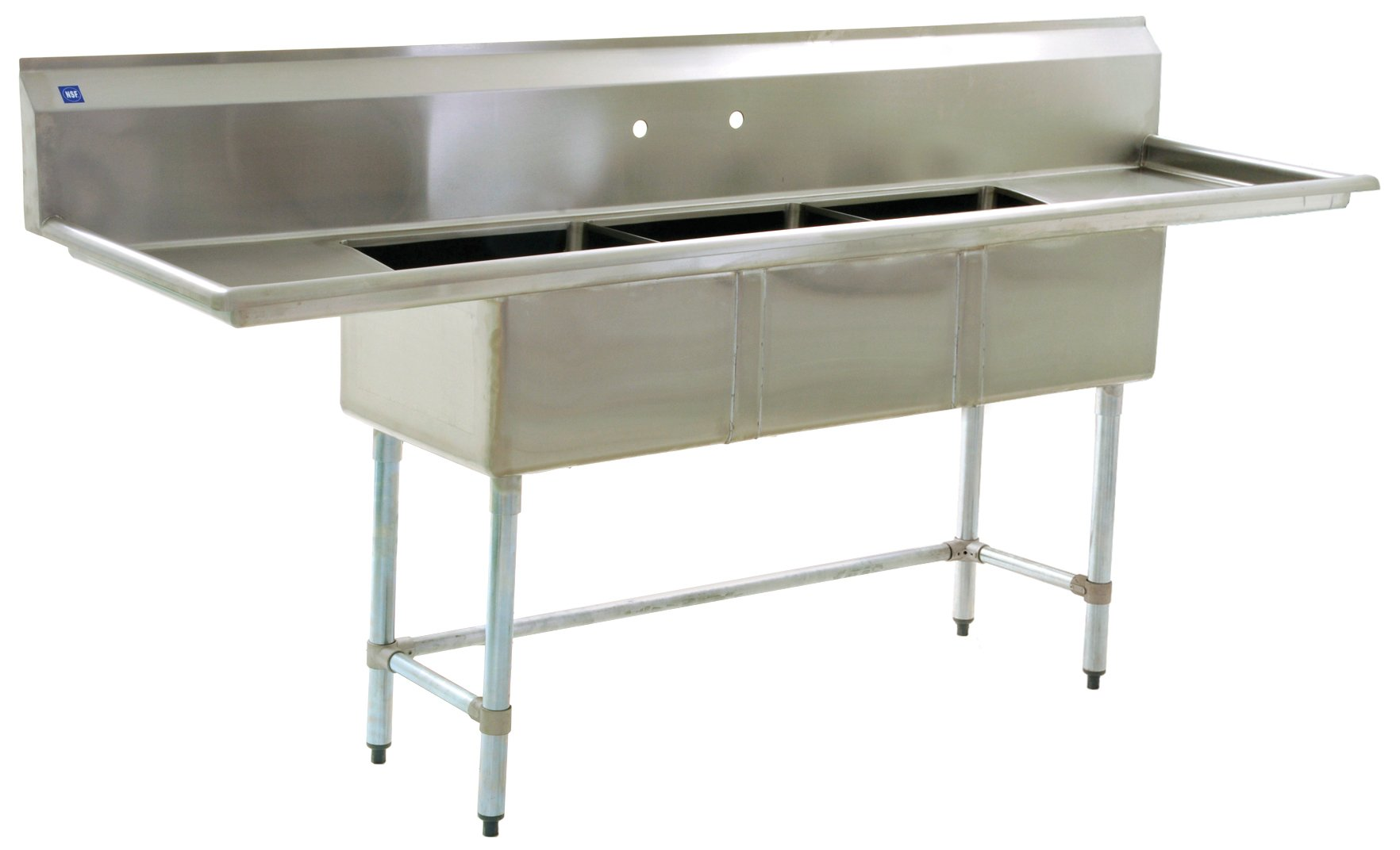 BlendPort BPS-1854-3-18-FC Economy Sink, with Cross Brace, SS Legs/Gussets, 3 Compartment, 23.5'' W x 90'' L, 2 Drain Boards, Silver