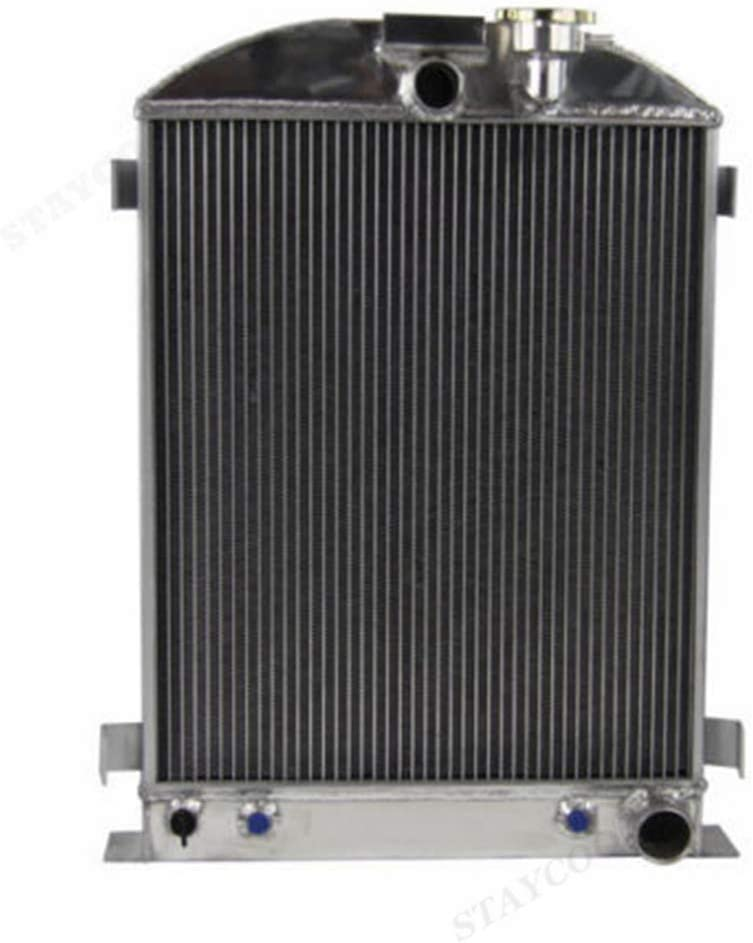 STAYCOO 3 Row All Aluminum Radiator for 1930 1931 Ford Model A/Grille-Shells Chevy Engine &1932 Ford Model B