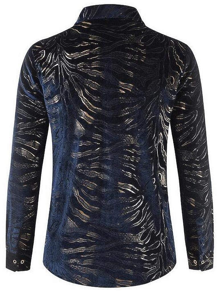 pipigo Men Thicken Long Sleeve Printing Faux Fur Lined Button Down Dress Shirts